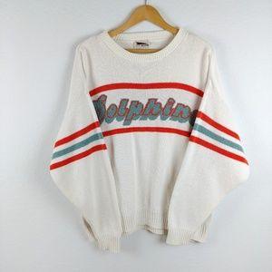 Vtg Miami Dolphins NFL Striped Crew Neck Sweater